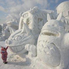 snow anime #Totoro #Catbus AMAZING