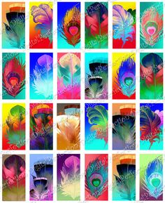 Digital Collage Sheet  Dichroic Feathers 1 X by DigitalPerfection