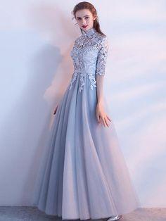 A-line High Neck Floor-length Half sleeve Tulle Prom Dress/Evening Dress # VB439