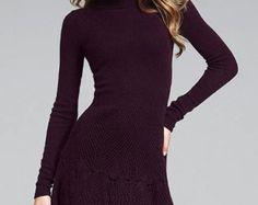 Mano de punto de mujeres vestido suéter aran por BANDofTAILORS