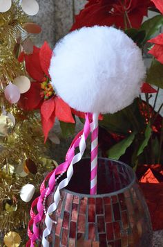 Hot Pink & White Toy Tulle Puff  Magic Wand-Birthday by Tuturocks