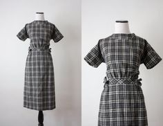 vintage 1960s charcoal plaid wool dress by 1919vintage on Etsy, $72.00