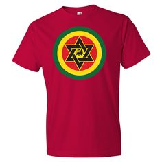 Seal of Solomon on Green, Gold and Red Circular Shield short sleeve t-shirt