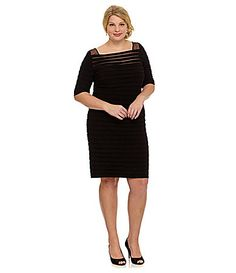Adrianna Papell Woman SheerYoke Pintuck Dress #Dillards