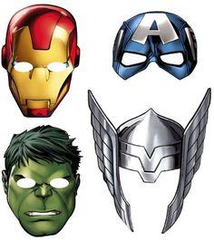pack of 8 cardboard masks, Thor, ironman, hulk, captain america Cardboard Mask, Marvel Avengers Assemble, Paper Mask, Mask Party, Party Packs, Hulk, Thor, Captain America, Iron Man