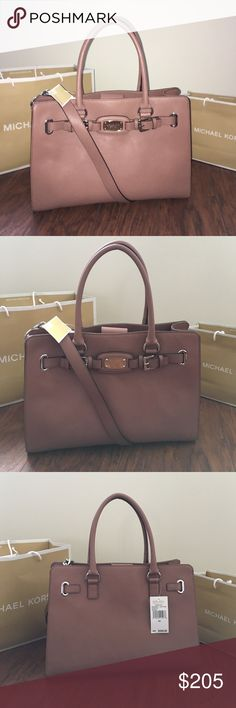 "💎MICHAEL KORS Hamilton Lg EW Tote Dusty Rose Guaranteed Authentic! Michael Kors Hamilton Large EW Tote in Dusty Rose leather color and silver tone hardware. Magnetic snap closure. Middle large zipper pocket separating interior in two compartments. Smaller side zipper pocket and 4 slip pockets. Interior lining in MK logo. Shorter strap drops 6"", and longer strap 15"". Approx. measurements: 16""L x 11""H x 6""W. Item will be videotaped prior to shipping to ensure proof of condition. Michael Kors…"