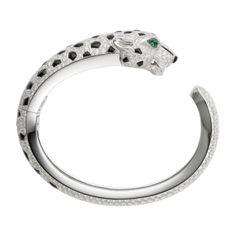 cartier-bracelets | Bracelet Panthère: Platine, diamants, onyx, émeraude