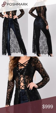 💥1 HR SALE!!💥Lace Cardigan Long Duster | Black Available In Black SatinTrim Lace Up Detail Modeling actual product  I would recommend heels if your under 5'3 :) MK Boutique Jackets & Coats