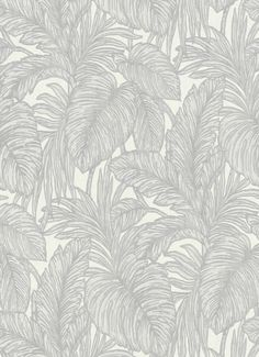 - Non-woven wallpaper by Erismann of the Hacienda collection with jungle leaf design in light grey and cream.