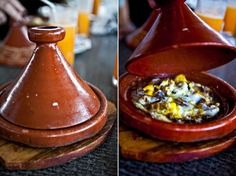 Moroccan breakfast tagine of eggs and lamb