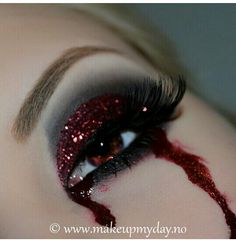 Vampire bleeding glittery eye