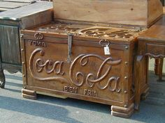 Custom Mesquite Coca Cola Ice Chest This piece was manufactured custom for a client  and we can replicate any logo if needed.