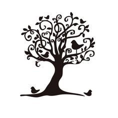 Whimsical Tree | Whimsical birds in tree Mounted Rubber Stamp by terbearco on Etsy