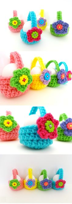 Crochet Little Egg Basket is the crochet project we all needed because the easter is about to come #crochet #easter #eastereggs #easterbasket #crochetflowers