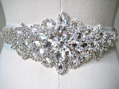 Serious bling wedding dress belt. Bridal wedding beaded crystal sash