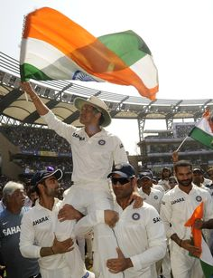 Sachin Tendulkar is carried on a lap of honour around the Wankhede, India v West Indies, 2nd Test, Mumbai, 3rd day, November 16, 2013