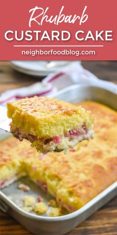 This Rhubarb Custard Cake is so easy to make and such a fun dessert for spring. With a fluffy yellow cake on top and creamy rhubarb custard on the bottom, this one is a winner! Rhubarb Custard Cake Recipe, Rhubarb And Custard, Rhubarb Cake, Cheesecake Desserts, Köstliche Desserts, Frosting Recipes, Cupcake Recipes, Dessert Recipes, Easy Rhubarb Recipes