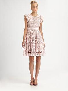 RED Valentino - Ruffle-Sleeve Lace Dress