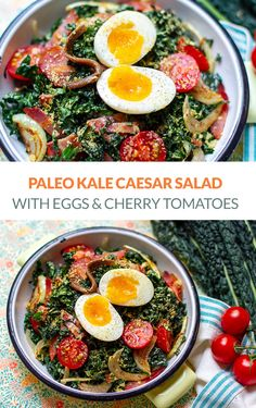 Paleo kale Caesar salad with soft-boiled eggs and cherry tomatoes. This salad has a dairy-free Caesar dressing that uses nutritional yeast flakes in place of Parmesan cheese. It's a nutritious version of the classic. #kale #paleo #salads Green Vegetable Recipes, Vegetable Salad, Vegetable Dishes, Healthy Salad Recipes, Raw Food Recipes, Paleo Salad Dressing, Kale Caesar Salad, Easy Family Meals