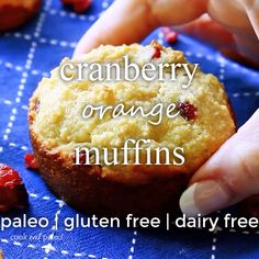 This cranberry orange muffins recipe is paleo gluten-free and dairy-free. Get all your favorite paleo muffin recipes here. This cranberry orange muffins recipe is paleo gluten-free and dairy-free. Get all your favorite paleo muffin recipes here. Almond Flour Muffins, Almond Flour Recipes, Gluten Free Muffins, Gluten Free Desserts, Gluten Free Recipes Videos, Paleo Muffin Recipes, Delish Videos, Cranberry Orange Muffins, Paleo Baking