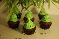 cupcakes de noël sapins chocolat menthe