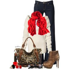 """Leopard & Red"" by cynthia335 on Polyvore"