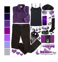 """""""~Purple Plaid~"""" by justwanderingon ❤ liked on Polyvore featuring Blair, MBLife.com, Ray-Ban, Jody Coyote, Yves Saint Laurent, Uniqlo, Betmar, Hue, NOVICA and Casetify"""