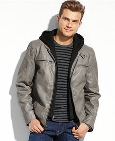 Calvin Klein Jacket, Hooded Faux Leather Jacket - Coats & Jackets ...
