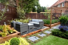 One of our latest garden designs in Esher. Esher Surrey, Outdoor Furniture Sets, Outdoor Decor, Lounge Areas, Raised Beds, Decks, Outdoor Living, Garden Design, Living Spaces