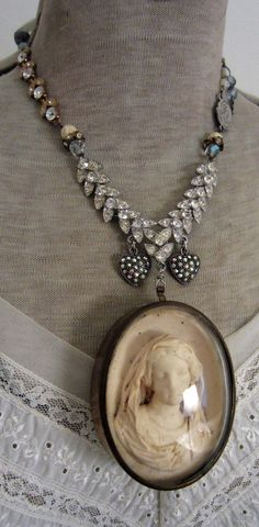 heavenly peace - antique meerschaum assemblage necklace with rhinestones and gemstones by the french circus