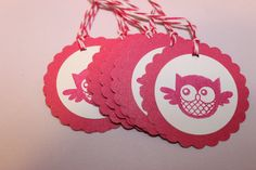 8 Round Pink and White Owl Tags by TheCraftShedd on Etsy, $5.00