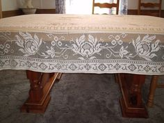 Vintage Lace Tablecloth Filet Crochet by BridenetVintageLinen