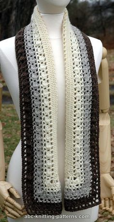 ABC Knitting Patterns - Snowy Evening Bobble Scarf - crochet