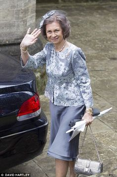 Pictured, Queen Sophia of Spain attends the wedding of Alexandra Knatchbull...