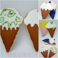 royal icing, glasa real, proyecto pstelito, galletas de dinosaurio, galletas en forma de helado