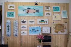 Pic from my Exhibition at the Sandqvist shop in Gothenburg, Sweden. Crab Art, Gothenburg Sweden, Gallery Wall, Fish, Shop, Home Decor, Decoration Home, Room Decor, Pisces