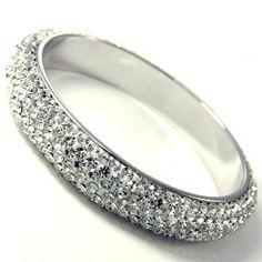 5 Row Swarovski Crystal Bangle Bracelet Set- 3 Bangles *Custom Order, *Different colors available