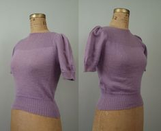 1940s Sweater / 40s Knit Sweater Puff Sleeves Lavender
