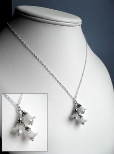 Wedding White Delicate Flower Necklace with Sterling Silver Chain - Romantic Bridal Jewelry
