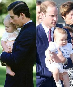 Father-son bonding at its best: As they arrived at Sydney Airport on 16.04.14, Prince William kept his son close to his chest with a firm grasp on his leg. More than 30 years ago, Prince Charles strolled the grounds of the Government House in Wellington, NZ, while carting son William