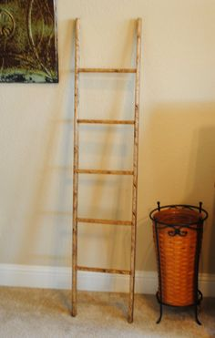 Walnut Rustic Ladder with Square Rungs by EdnaFayeCreations, $45.00