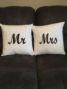 A personal favorite from my Etsy shop https://www.etsy.com/listing/592360800/mr-and-mrs-pillow