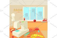 Window Design, Cartoon Styles, Concept, Illustration, Room, Bedroom, Rooms, Illustrations, Rum
