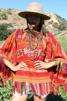"""Peruvian Rainbow"" Vintage Peruvian Poncho"
