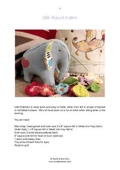 Little elephant toy pattern - made from fabric scraps