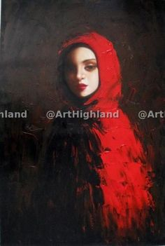 New-Modern-Abstract-Portrait-Oil-Paintings-Painting-Canvas-Art-Girl-in-Red-Cape