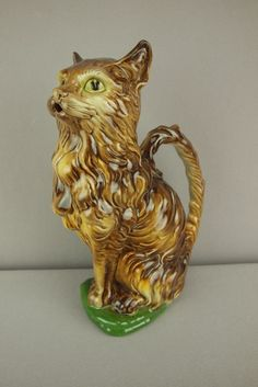 St. Clement majolica figural cat pitcher