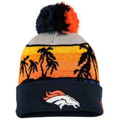 Men's New Era Navy Denver Broncos Winter Beachin Cuffed Knit Hat