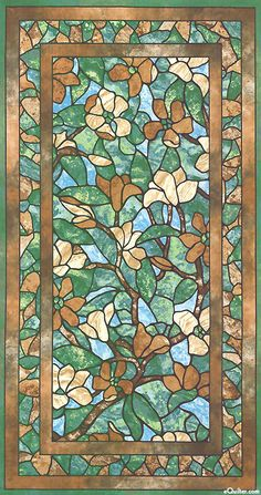 "Stonehenge Magnolia - Mysteria Flowers - Mocha - 24"" x 44"" PANEL"