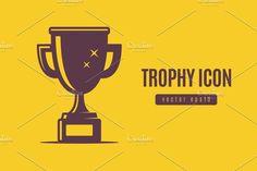 Winner trophy icon in single color vector illustration --- + Vector + High resolution JPG + High resolution transparent PNG Color Vector, Freelance Illustrator, Flat Design, Graphic Illustration, Behance, Graphic Design, Layouts, Graphics, Logos